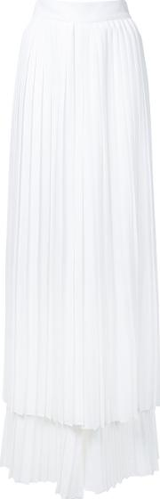 Pleated Layered Trousers Women Polyester 44, White