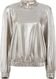Sara Battaglia Metallic Grey Effect Blouse Women Polyester 42