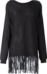 Fringed Jumper Women Silk M, Blue