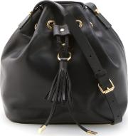 Leather Bucket Bag Women Leather One Size, Black