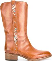Studded Mid Calf Boots Women Calf Leatherleather 39, Brown