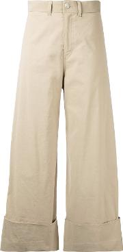 Cropped Flared Trousers Women Cottonlinenflaxspandexelastaneviscose 6, Nudeneutrals