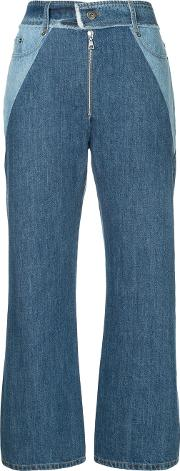 Cropped Wide Leg Contrast Jeans