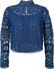 Embroidered Blouse Women Cotton 4, Women's, Blue