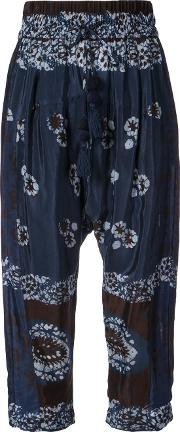 Tie Dye Floral Print Cropped Trousers