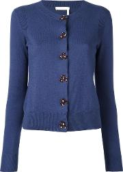 Round Neck Cardigan Women Cotton S, Women's, Blue
