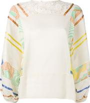 Printed Sleeves Blouse Women Cotton 44, Nudeneutrals