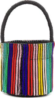 Striped Beaded Bucket Tote