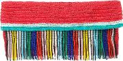 Woven Clutch With Beaded Fringing