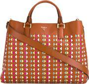 Logo Print Tote Bag Women Leathergoat Suede One Size, Women's, Brown