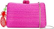 Pineapple Shoulder Bag Women Raffia One Size, Women's, Pinkpurple