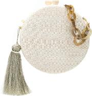 Round Tassel Clutch Women Straw One Size