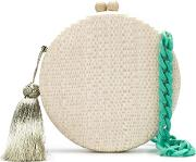 Round Tassel Clutch Women Straw One Size, White