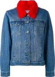 Furry Collar Denim Jacket Women Cottonfox Fur S, Blue