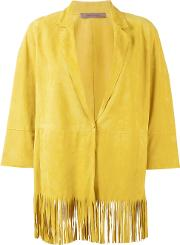 Irene Fringed Jacket Women Suede 40, Yelloworange