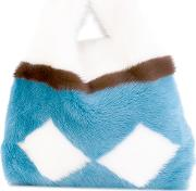 Large Open Tote Women Mink Fur One Size, White
