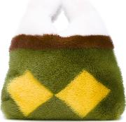 Large Open Tote Women Mink Fur One Size, Yellow