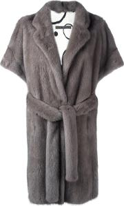 Shortsleeved Mid Coat Women Silkmink Fur 40, Grey
