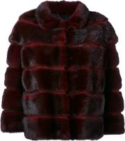 Stripe Detail Jacket Women Silkmink Fur 40, Red