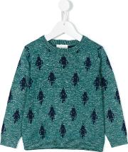Rocket Intarsia Jumper Kids Cottonlinenflaxviscose 3 Yrs, Green