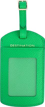 Luggage Tag Unisex Leather One Size, Green