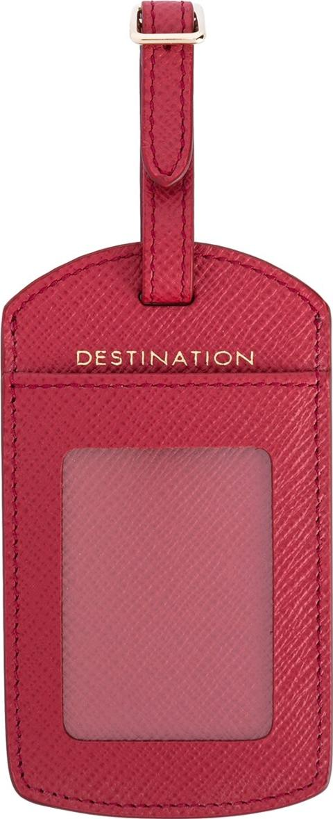 Luggage Tag Unisex Leather One Size, Red