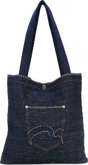 Denim Selvage Pocket Tote Unisex Cotton One Size, Blue