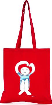 Logo Print Tote Unisex Cotton One Size, Red