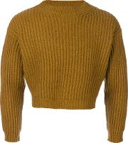 Sofie D'hoore Cropped Knitted Sweater Unisex Wool Xs, Brown
