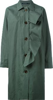 Sofie D'hoore Ruffle Trim Buttoned Coat Women Cotton 38, Green