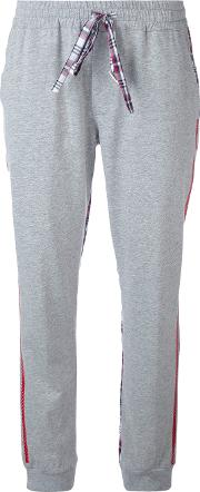 Checked Sides Jogging Trousers Women Cotton 40, Grey