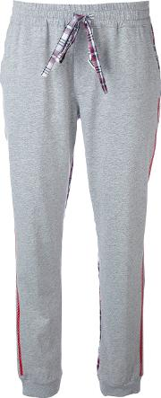 Checked Sides Jogging Trousers Women Cotton 42, Grey
