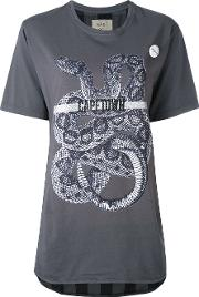Snake Print T Shirt Women Cotton Xs, Grey