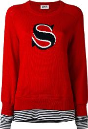 Contrast Layer Jumper Women Cotton Xs, Red