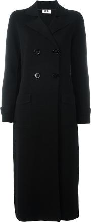 Double Breasted Cardi Coat Women Acrylicwool Xs, Black