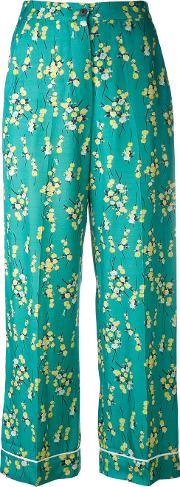 Floral Print Cropped Trousers Women Viscose 36, Green
