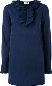 Frill Trim Blouse Women Cottonspandexelastanerayon 38, Blue