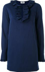 Frill Trim Blouse Women Cottonspandexelastanerayon 42, Blue