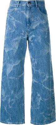 High Rise Cropped Flared Jeans Women Cottonpolyesterspandexelastane 38, Blue