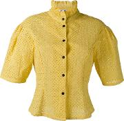 Short Sleeve Poplin Blouse Women Cotton 38, Yelloworange
