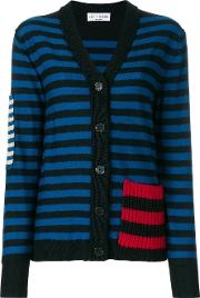 Patch Detail Striped Cardigan