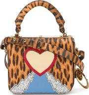 Leopard Heart Mini Bag Women Calf Leatherpatent Leathermetal Grey Other One Size