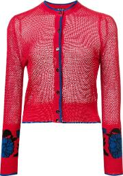 Garden Jacquard Cropped Cardigan Women Silk 4, Red