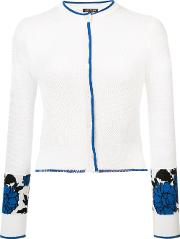 Garden Jacquard Cropped Cardigan Women Silk 6, White
