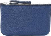 Embossed Front Wallet Men Leather One Size, Blue