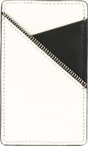 White Black Cardholder Unisex Calf Leather One Size