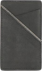 Zip Trim Cardholder Unisex Calf Leather One Size, Black