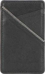 Zip Trim Cardholder Wallet Unisex Calf Leather One Size, Black