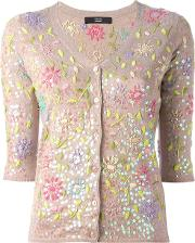 Floral Embroidery Cardigan Women Polyamidepolyesterviscosecashmere 34, Women's, Nudeneutrals