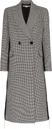 Chana Double Breasted Houndstooth Wool Coat